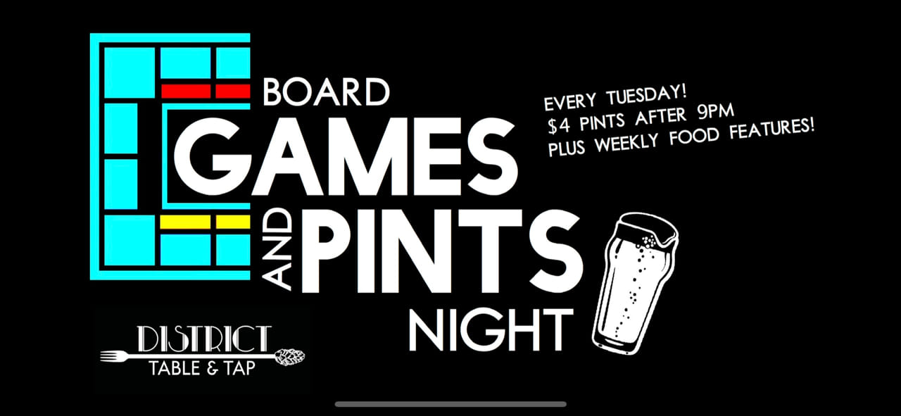 Board Games and Pints Night Tuesday